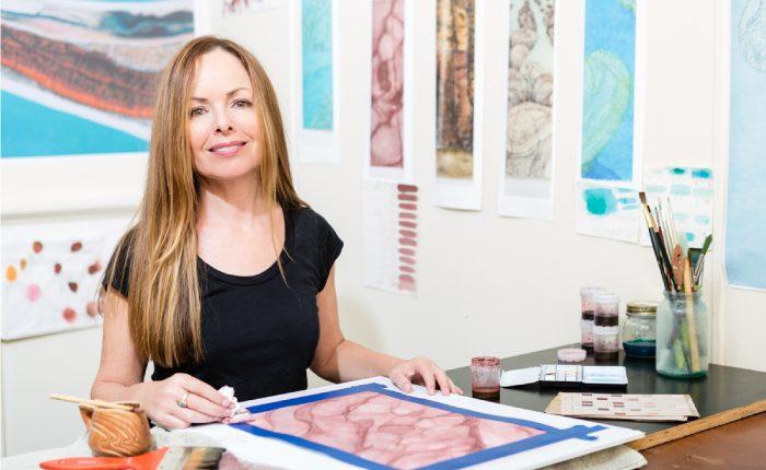 Sue Helmot Artist in her studio in Carnarvon in the Gascoyne region of Western Australia