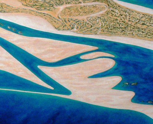 Sandbar Shark Bay acrylic on canvas by Sue Helmot Artist who is based in Carnarvon in the remote Gascoyne Region of Western Australia