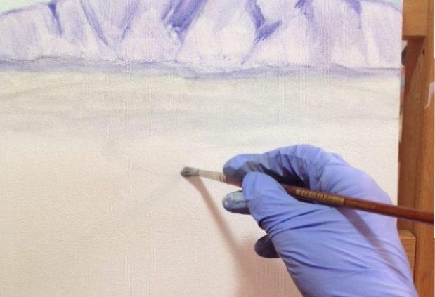 Mt Augustus underpainting by Sue Helmot Artist