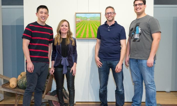 Sue Helmot with chefs Brendan Pang, Nathan Thomas and Lucas Fernandes at the opening night of Sue's solo exhibition From The Source A Landscape of Food at the Carnarvon Regional Gallery in Western Australia