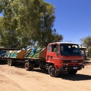 Sweeter Banana's truck collecting banana's from plantations around the river in Carnarvon - Sue Helmot Artist