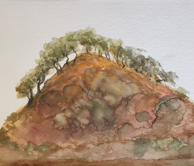 Mardathuna Outcrop watercolour on Arches by Sue Helmot Artist who is based in Carnarvon in the remote Gascoyne region of Western Australia