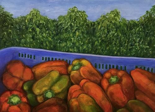 Capsicum Harvest oil on linen by Sue Helmot Artist