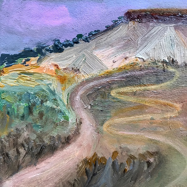 Outback Landscape oil on ceramic Sue Helmot