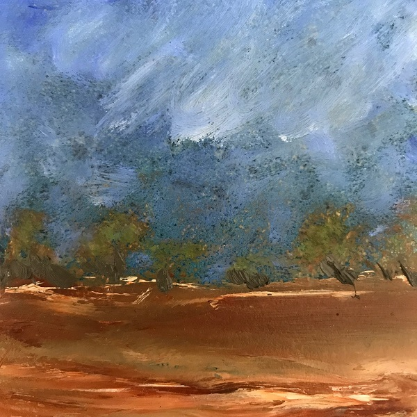 Outback Storm oil on ceramic Sue Helmot