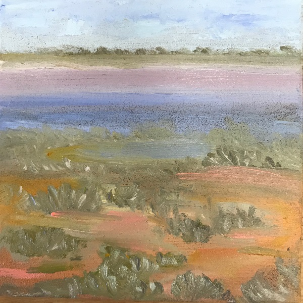 Estuary oil on ceramic Sue Helmot