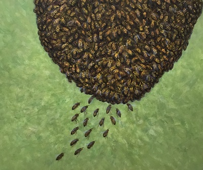 Flying Home honey bees flying to the hive oil on canvas by Australian artist Sue Helmot