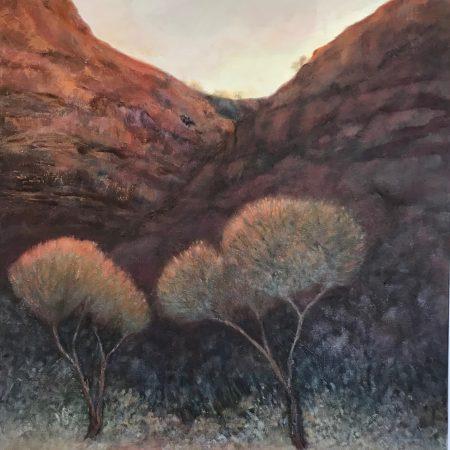First Light in the Gorge Kennedy Range oil on canvas Sue Helmot Australian landscape painter