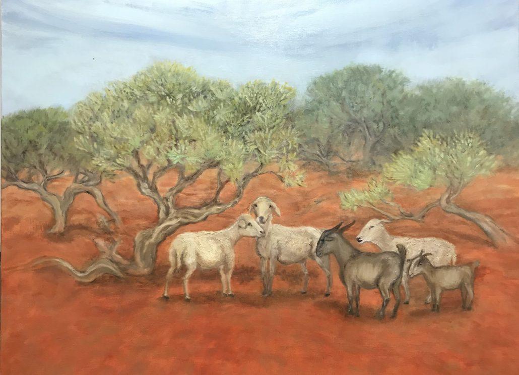 Browsing in the Rangelands Goats Sue Helmot Australian landscape painter