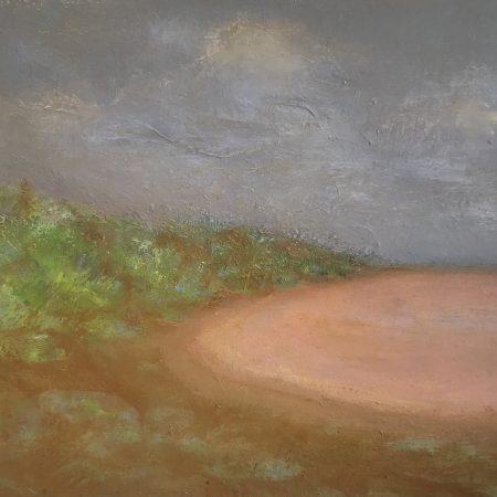 Claypan After Rain Gascoyne Outback Pathway oil on board Western Australia Sue Helmot Australian landscape painter