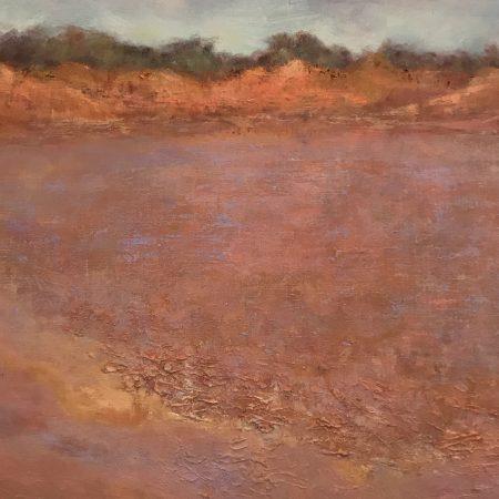 Claypan Shimmering Kennedy Range oil on linen Sue Helmot Australian landscape painter Gascoyne Murchison Outback Pathways Western Australia