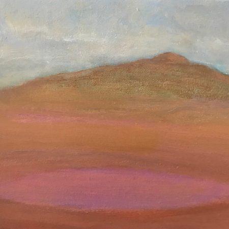 Pink Claypan Soft Autumn Day oil on board Sue Helmot Australian landscape painter Gascoyne Western Australia